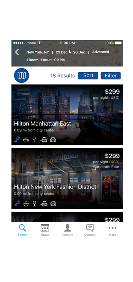 image of hhonors app hotel search results